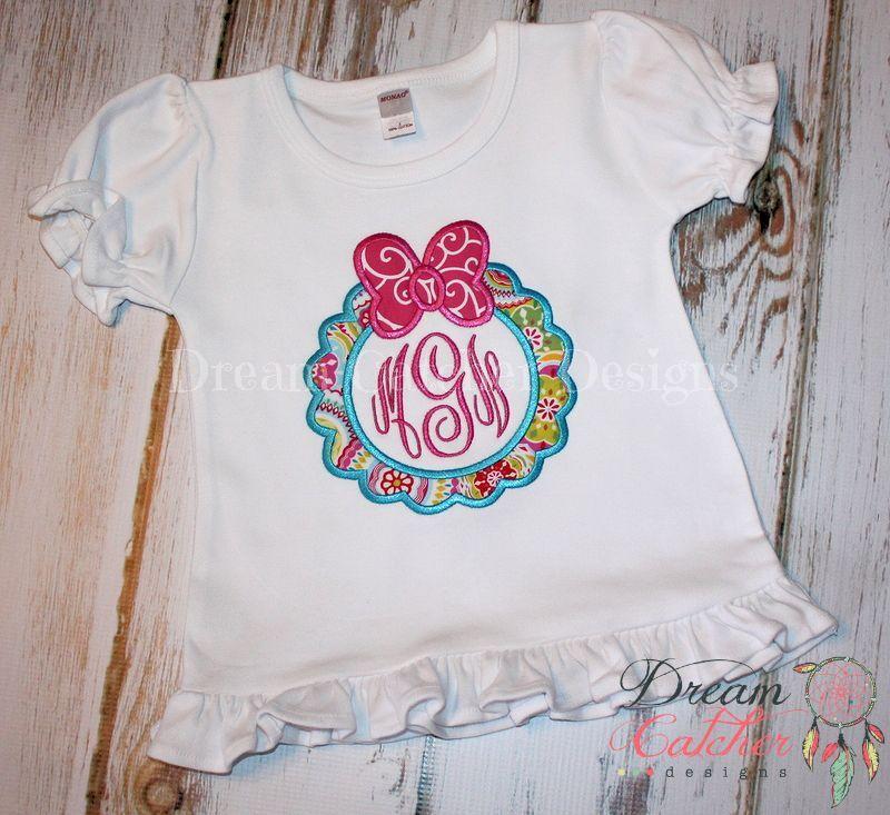 Bow Monogram Frame Valentine Applique Embroidery Design The