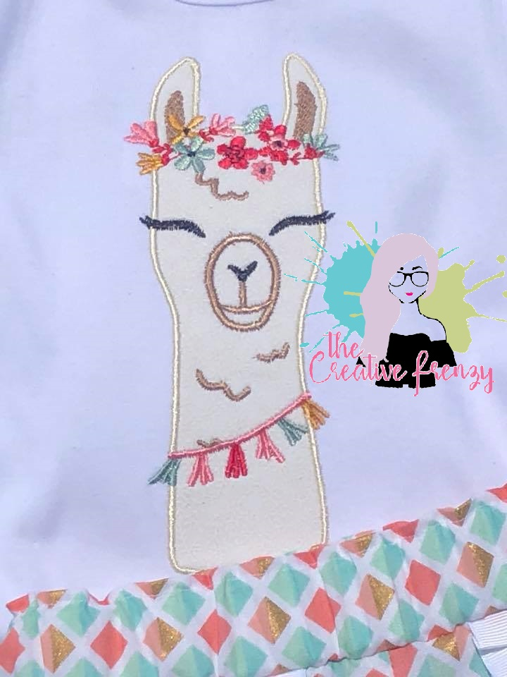 Floral Llama Applique Embroidery Design The Creative Frenzy