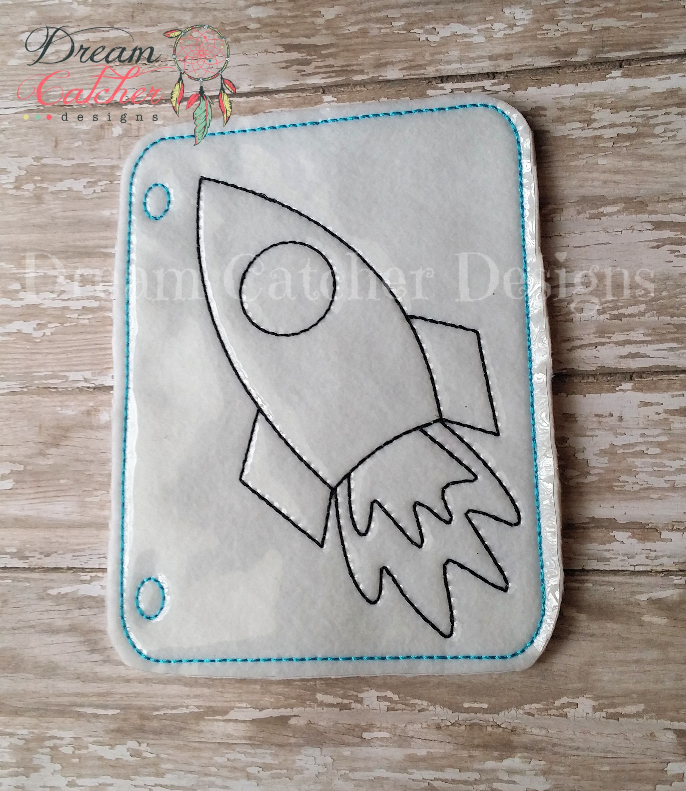 In the hoop rocket ship coloring page embroidery design