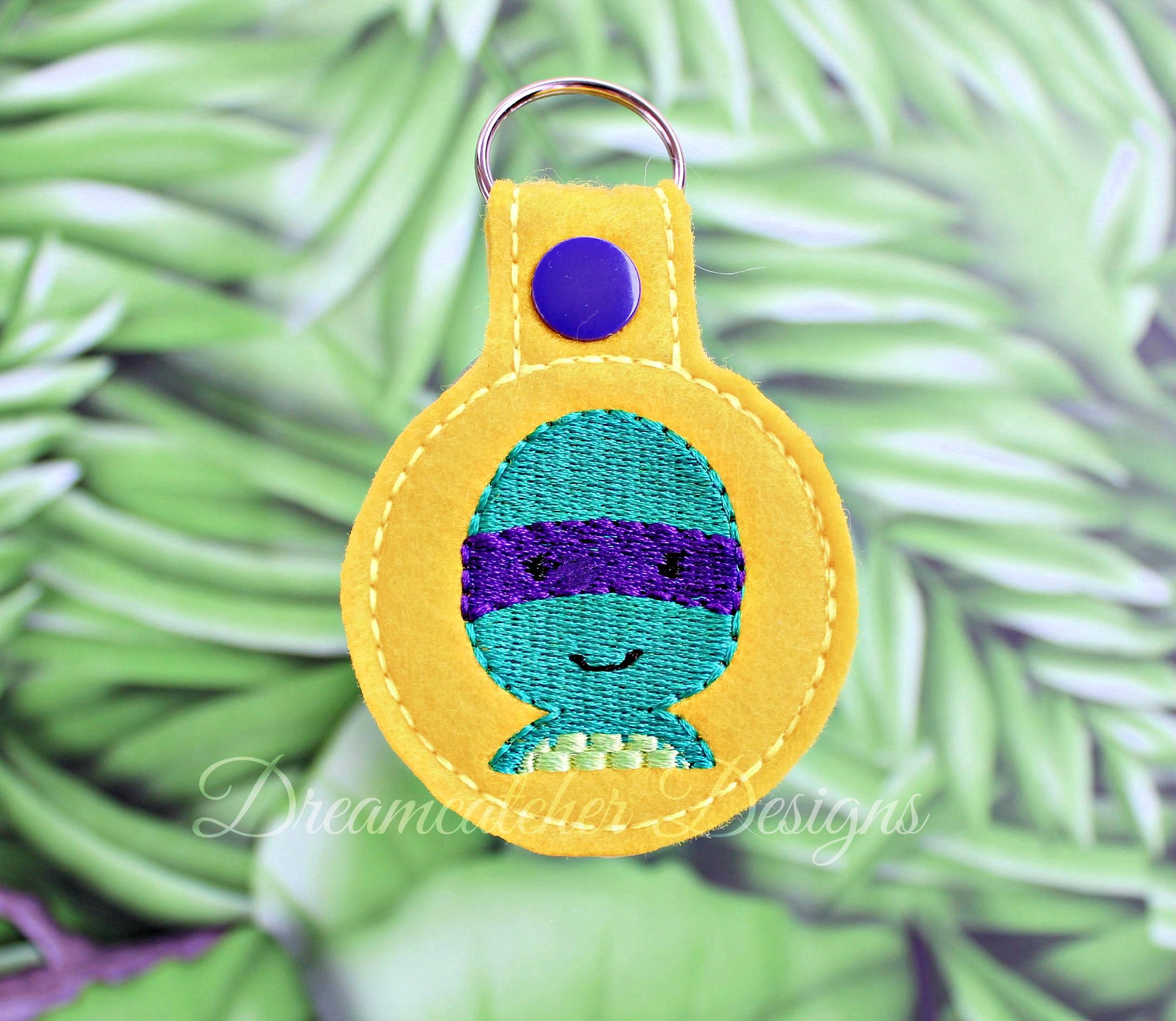 In The Hoop Turtle Hero Key Fob Keychain Felt Embroidery Design