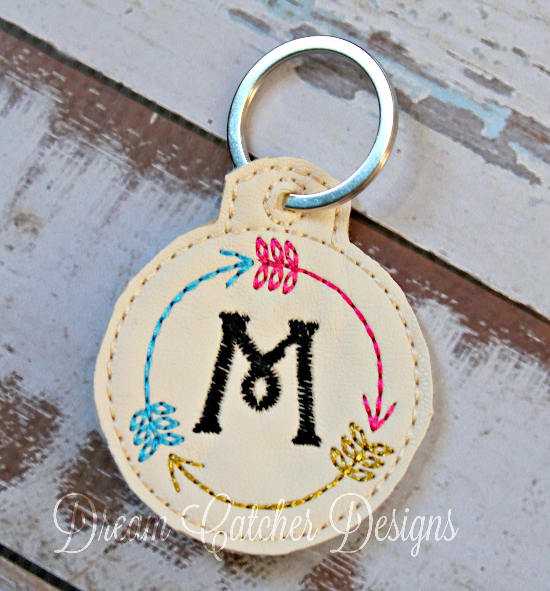 Key Fob Keychain >> In The Hoop Circle Three Arrow Monogram Key Fob Keychain Felt