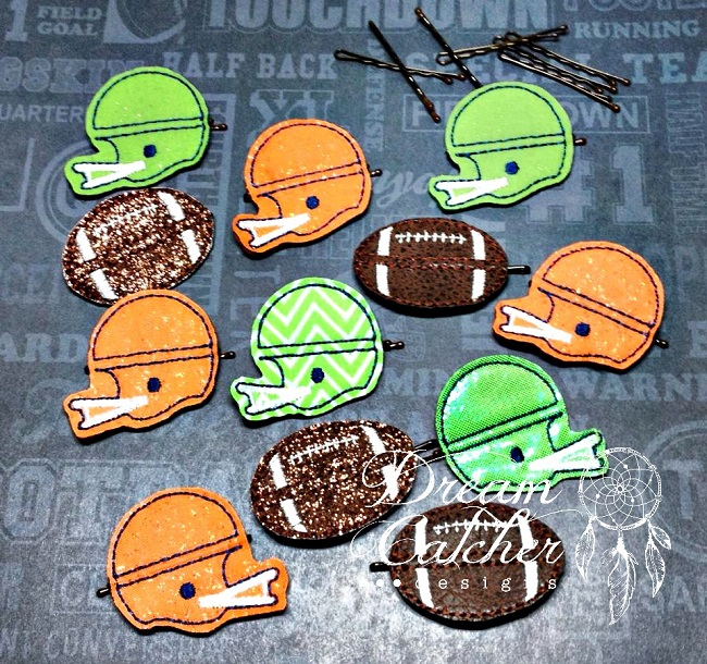 In The Hoop Football Sports Bobby Pin Felt Embroidery Design