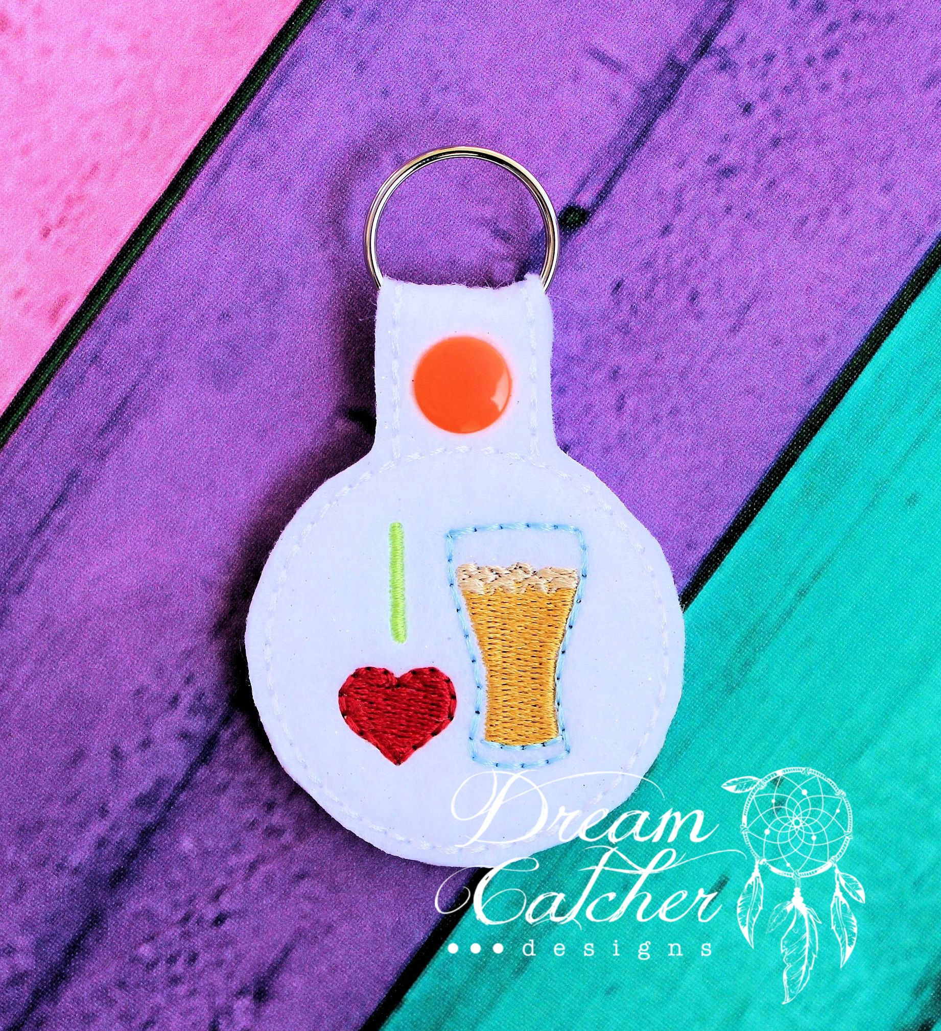 In The Hoop I Heart Beer Key Fob Keychain Felt Embroidery Design