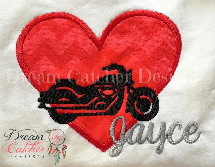 Motorcycle heart valentine applique embroidery design u the